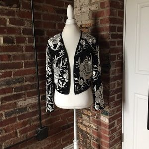 Bob Mackie Boutique Floral Cropped Jacket